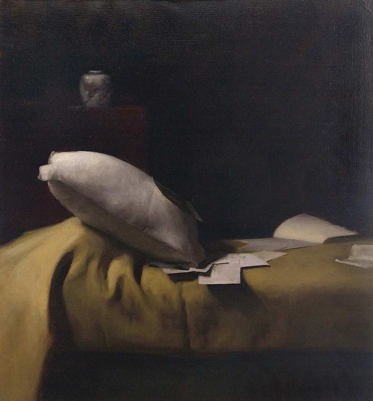 'Bed Painting' by American contemporary realist oil painter Dana Levin (b.1969).